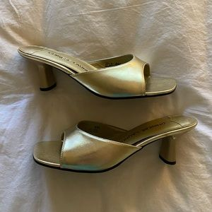 Vintage 90s Square Toe Gold Mules